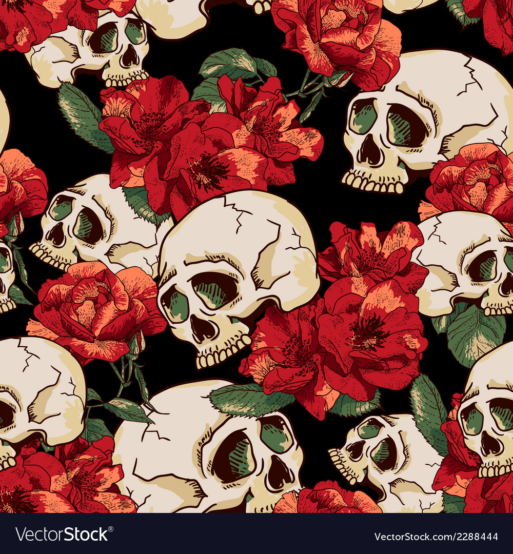 Skull and flowers seamless background vector | Price: 1 Credit (USD $1)