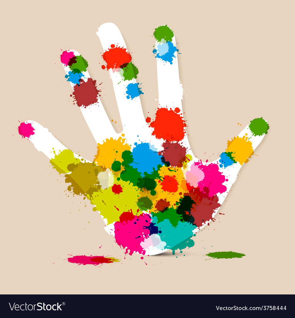 Splash palm hand colorful vector | Price: 1 Credit (USD $1)