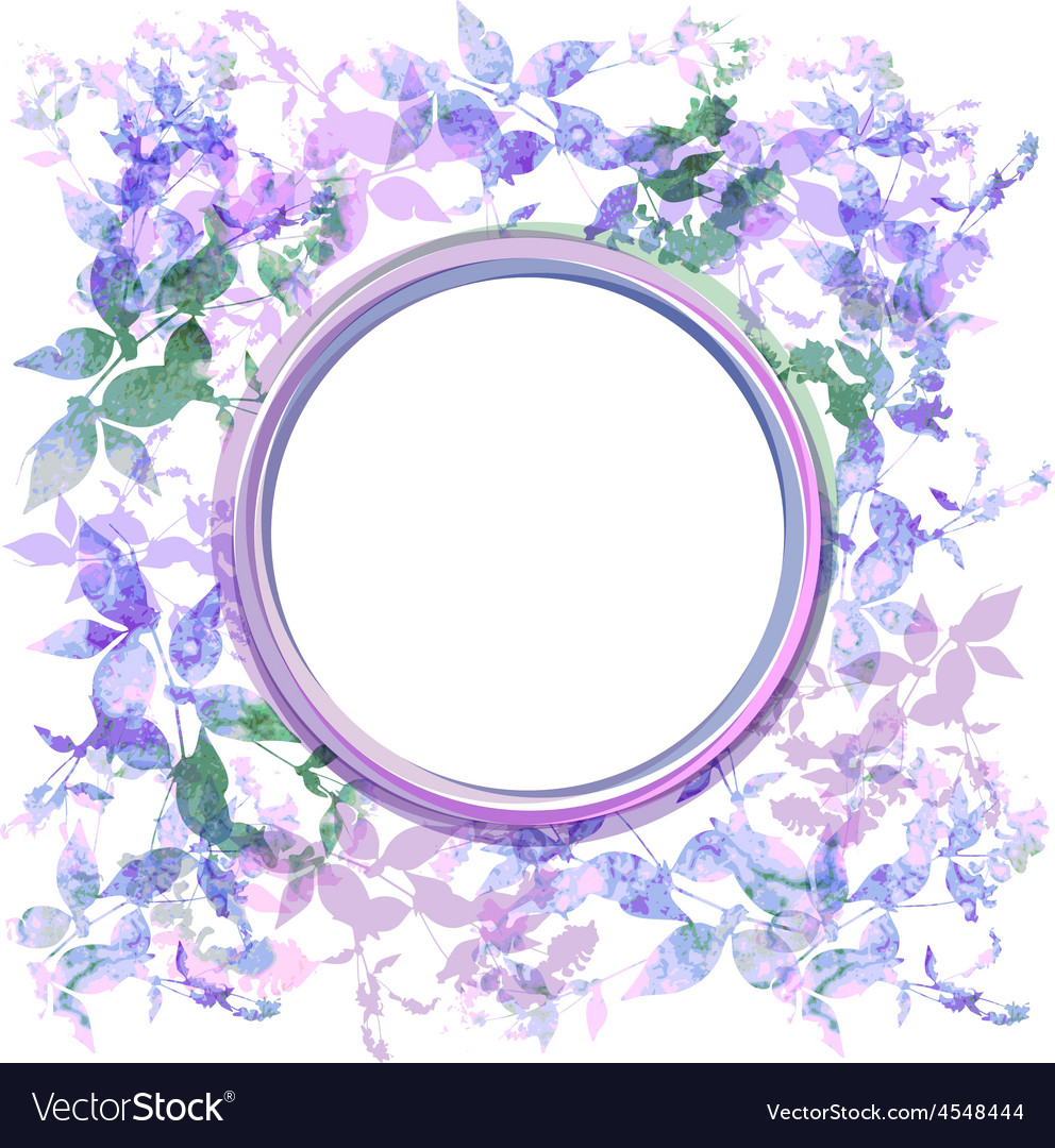Spring background wreath with lilac purple leaves vector | Price: 1 Credit (USD $1)