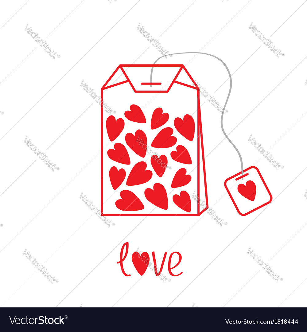 Teabag with hearts love card vector | Price: 1 Credit (USD $1)