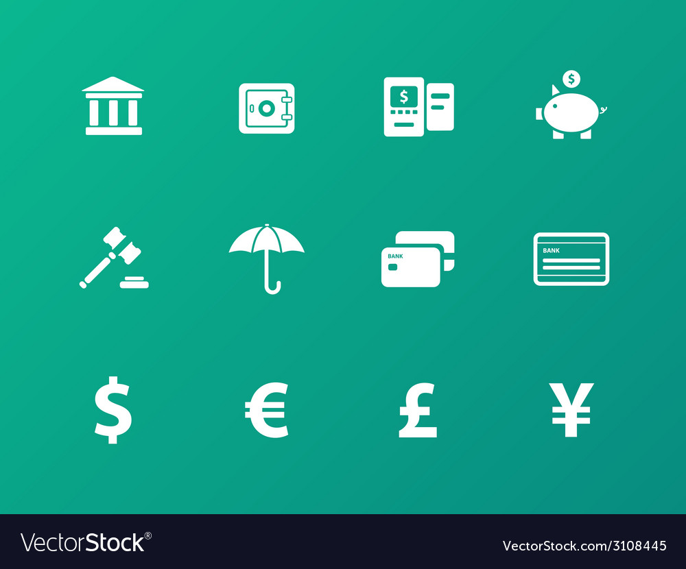 Banking icons on green background vector   Price: 1 Credit (USD $1)