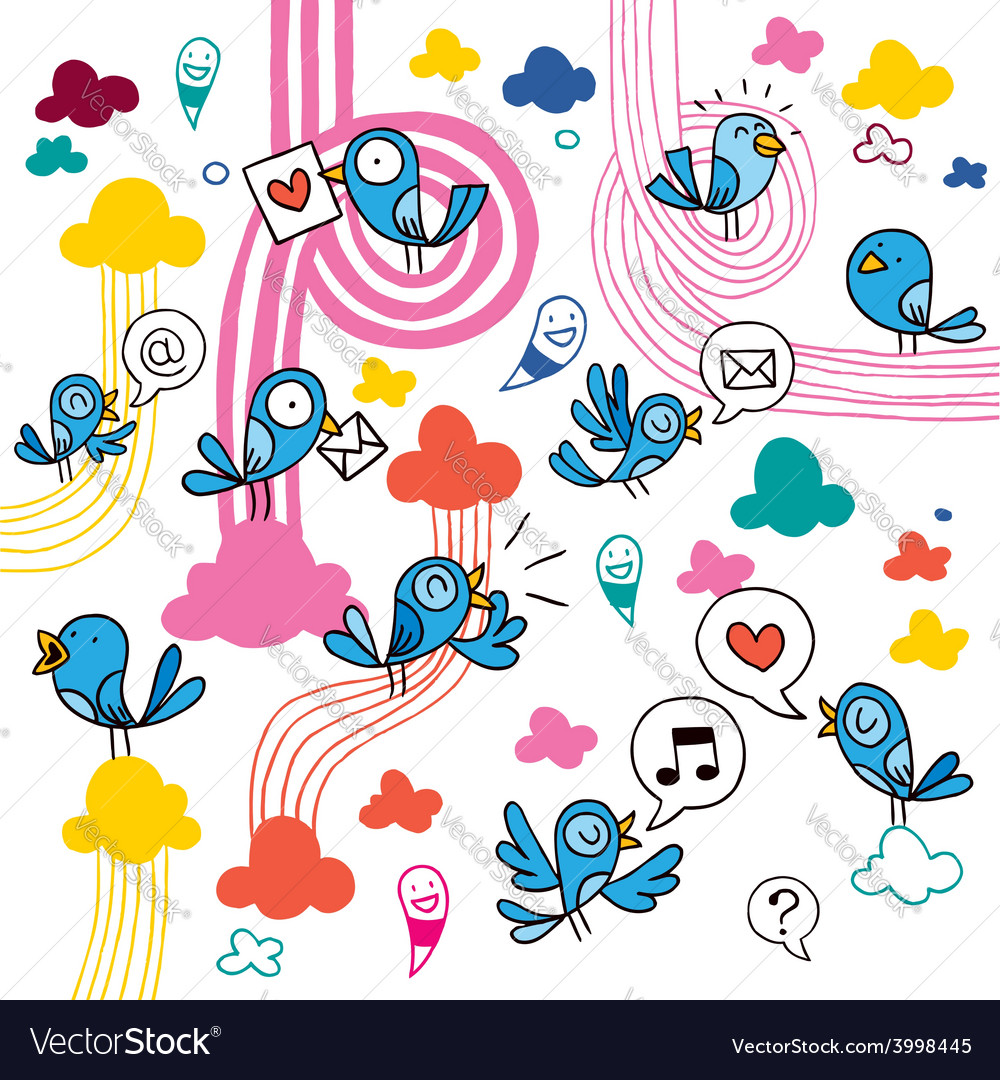Blue birds vector | Price: 1 Credit (USD $1)