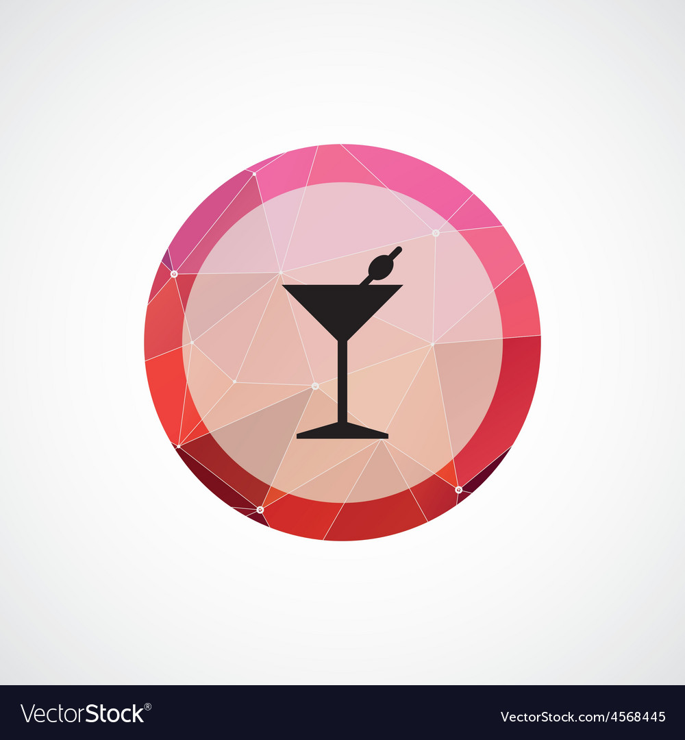 Cocktail circle pink triangle background icon vector | Price: 1 Credit (USD $1)
