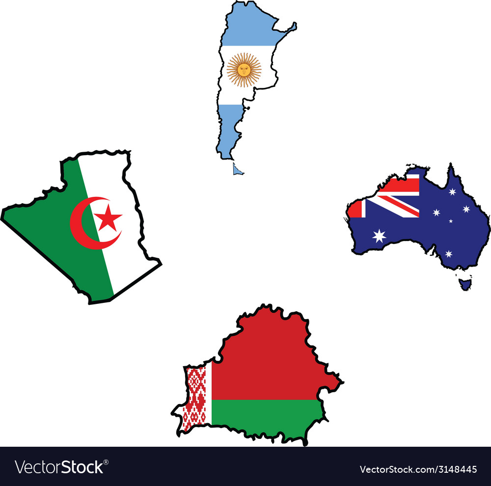Flag in map of algeriaargentinaaustraliabelarus vector | Price: 1 Credit (USD $1)