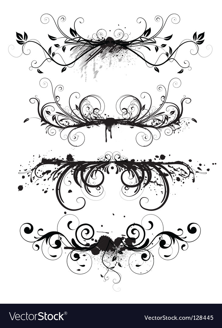 Grunge floral elements vector | Price: 1 Credit (USD $1)