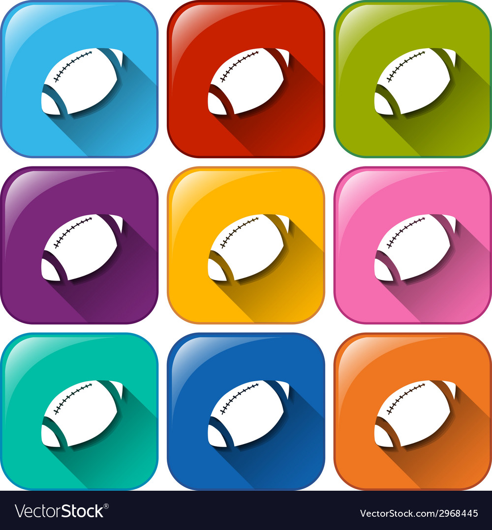 Icons with american football ball vector | Price: 1 Credit (USD $1)