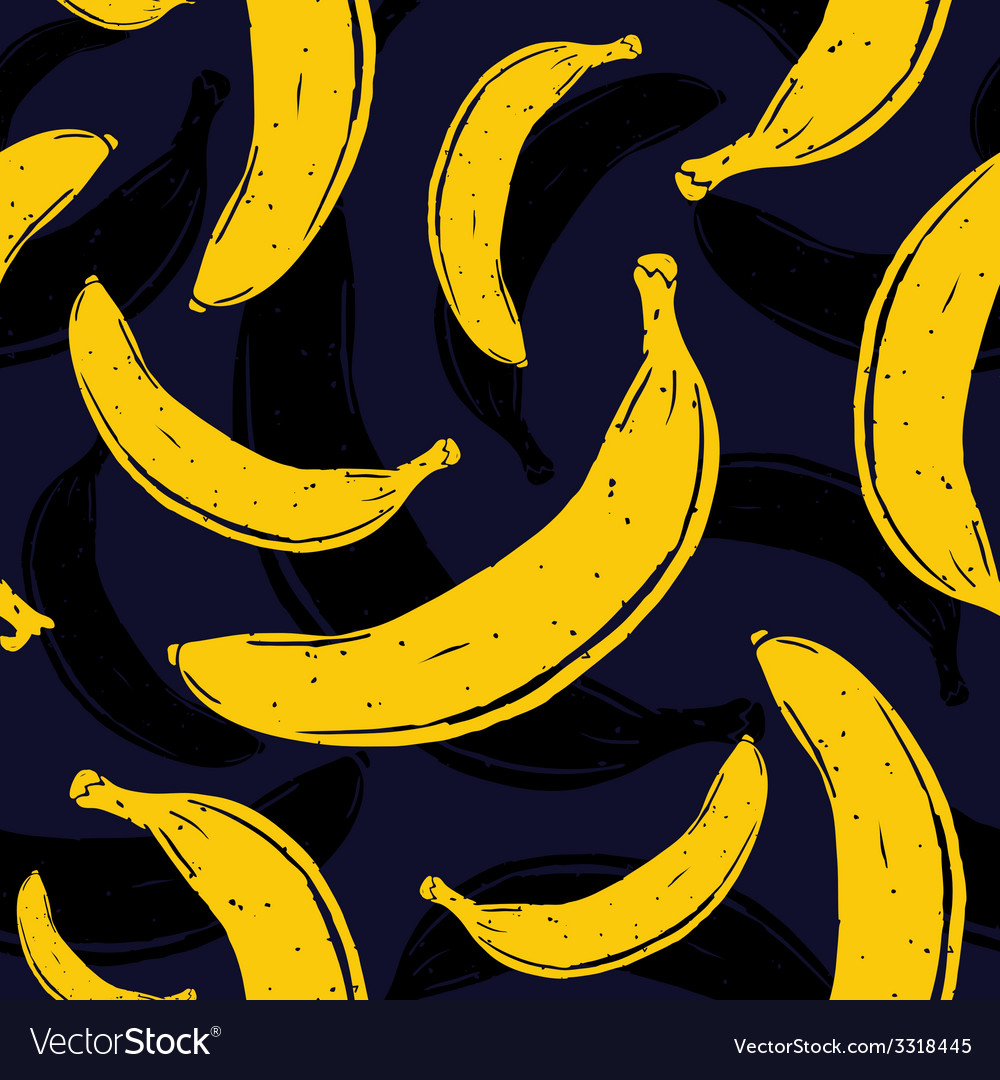 Pop art banana seamless pattern vector | Price: 1 Credit (USD $1)