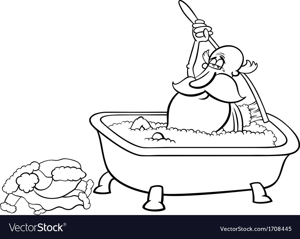 Santa taking bath coloring page vector | Price: 1 Credit (USD $1)