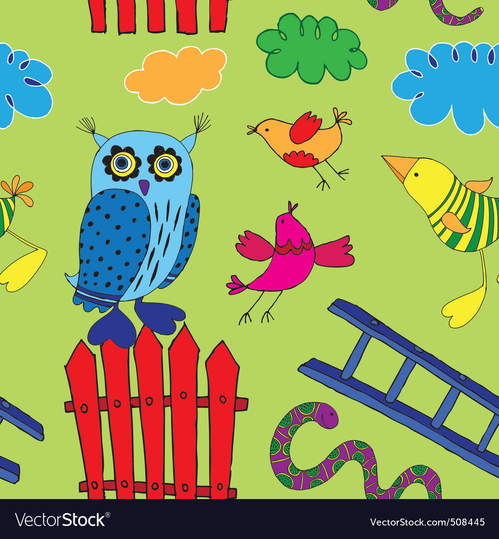 Seamless birds print vector | Price: 1 Credit (USD $1)