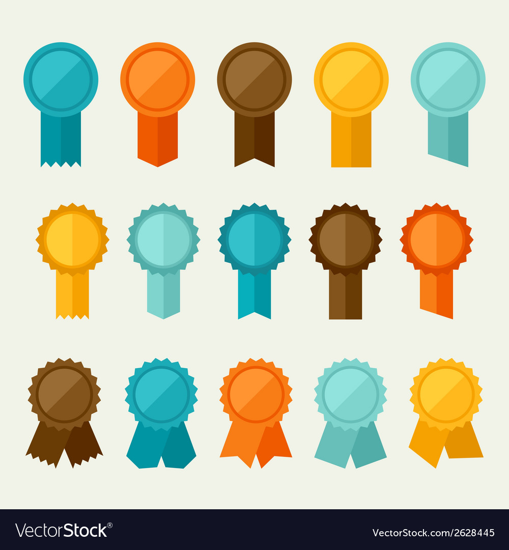 Set of colored badges labels awards in flat design vector | Price: 1 Credit (USD $1)