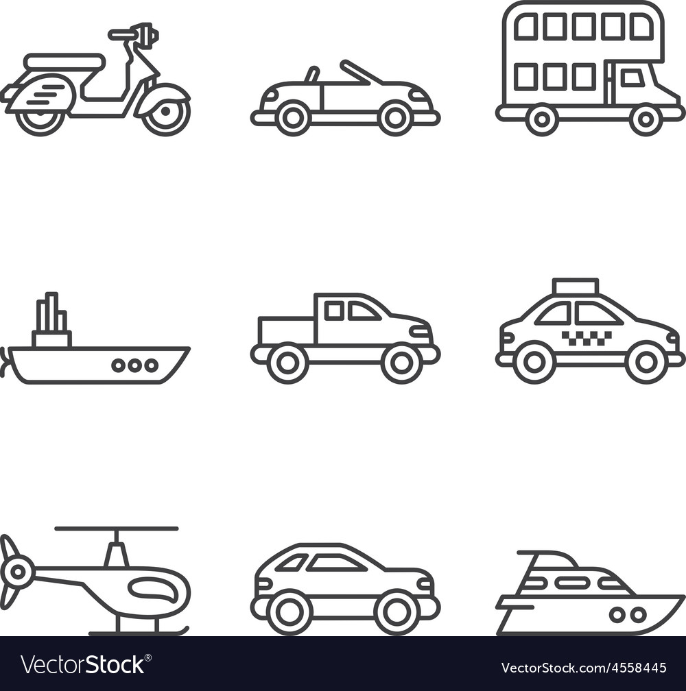 Transport icons simple and thin line vector | Price: 1 Credit (USD $1)