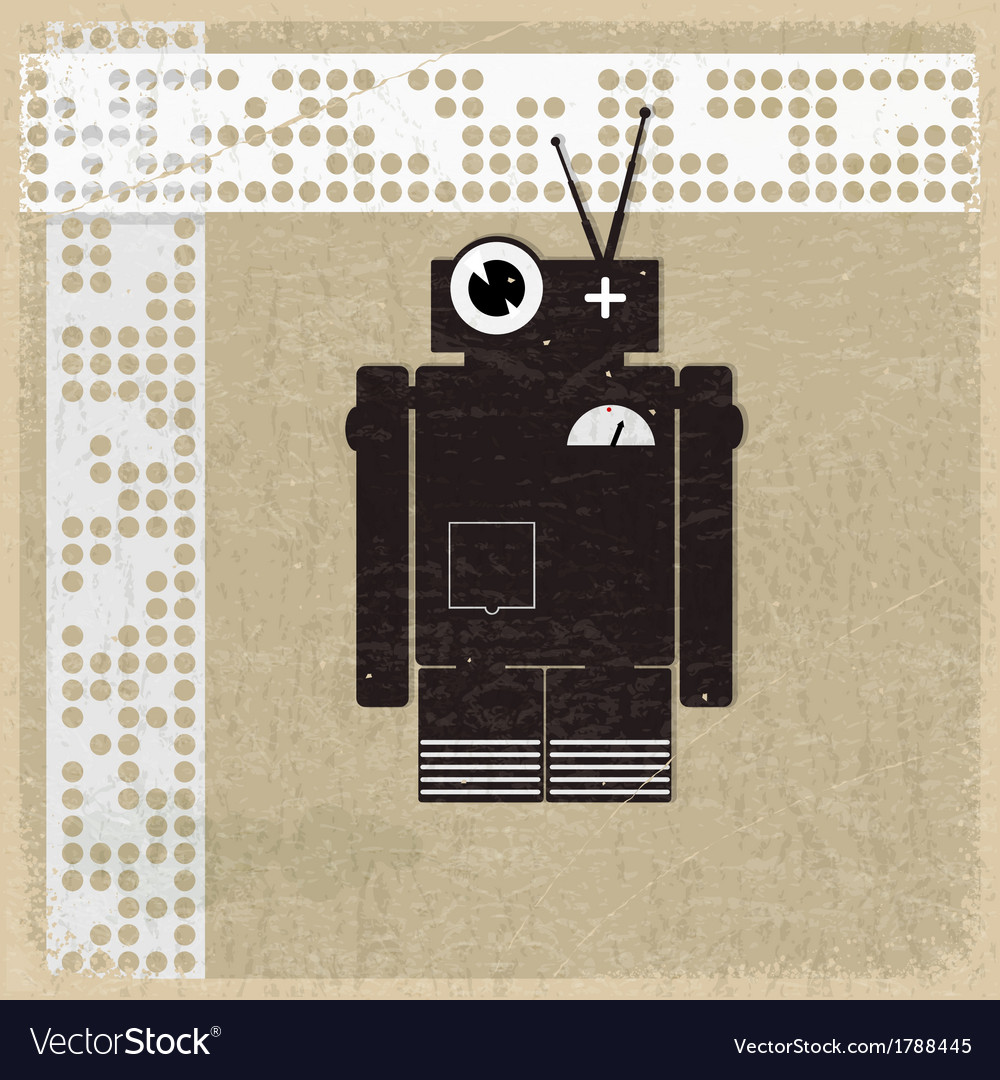 Vintage background with the silhouette of a robot vector | Price: 1 Credit (USD $1)