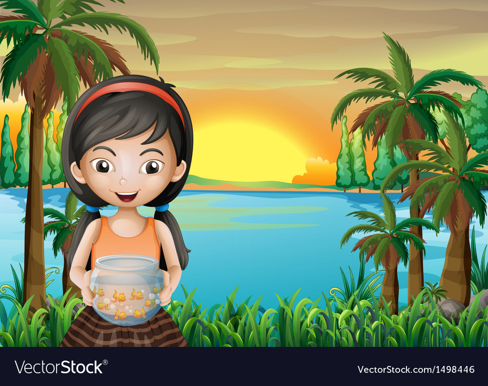 A young girl holding an aquarium vector | Price: 1 Credit (USD $1)