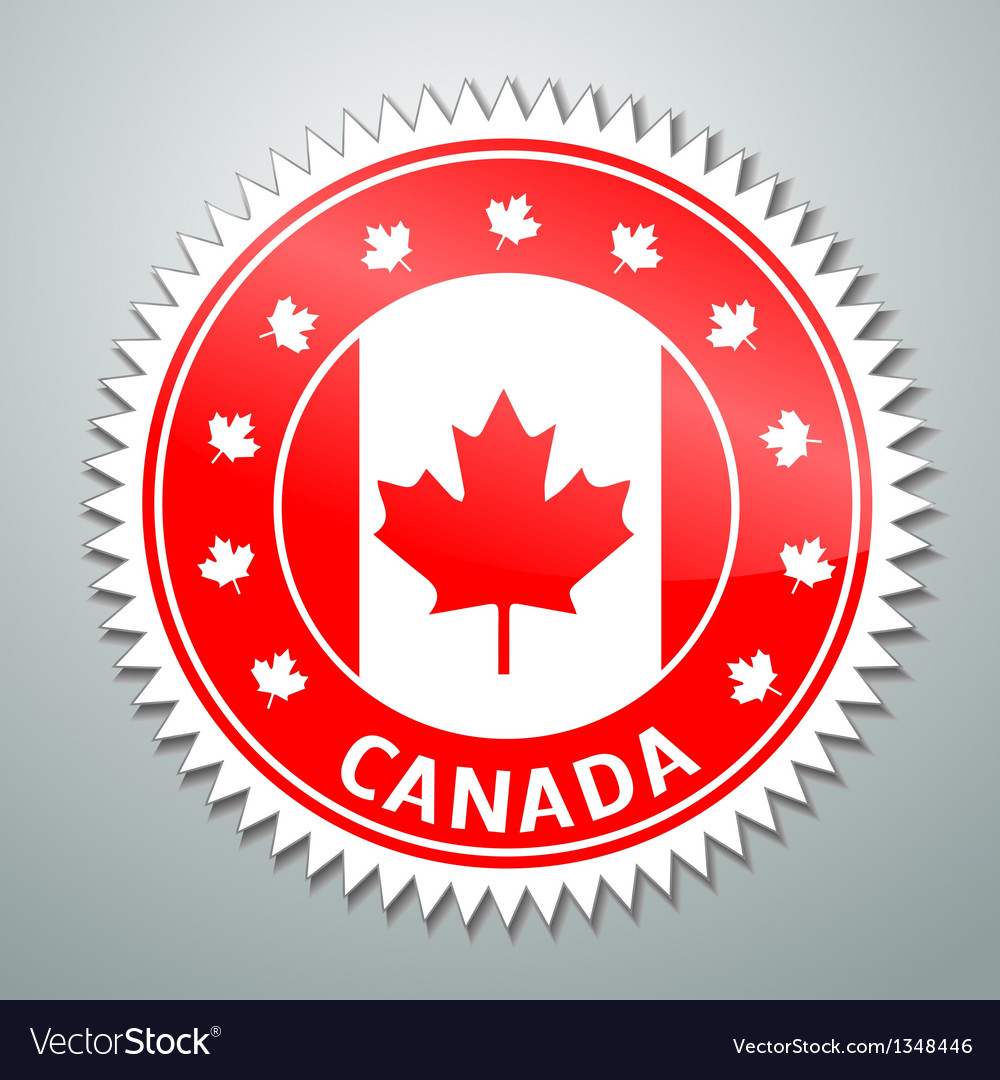 Canada flag label vector | Price: 1 Credit (USD $1)