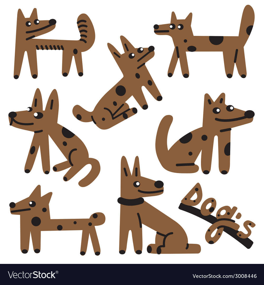 Dogs cartoons vector | Price: 1 Credit (USD $1)