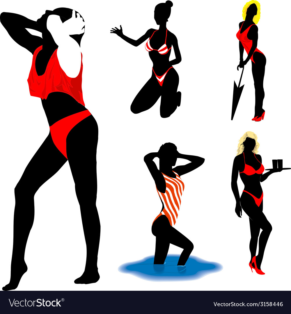 Girl silhouettes beach vector | Price: 1 Credit (USD $1)