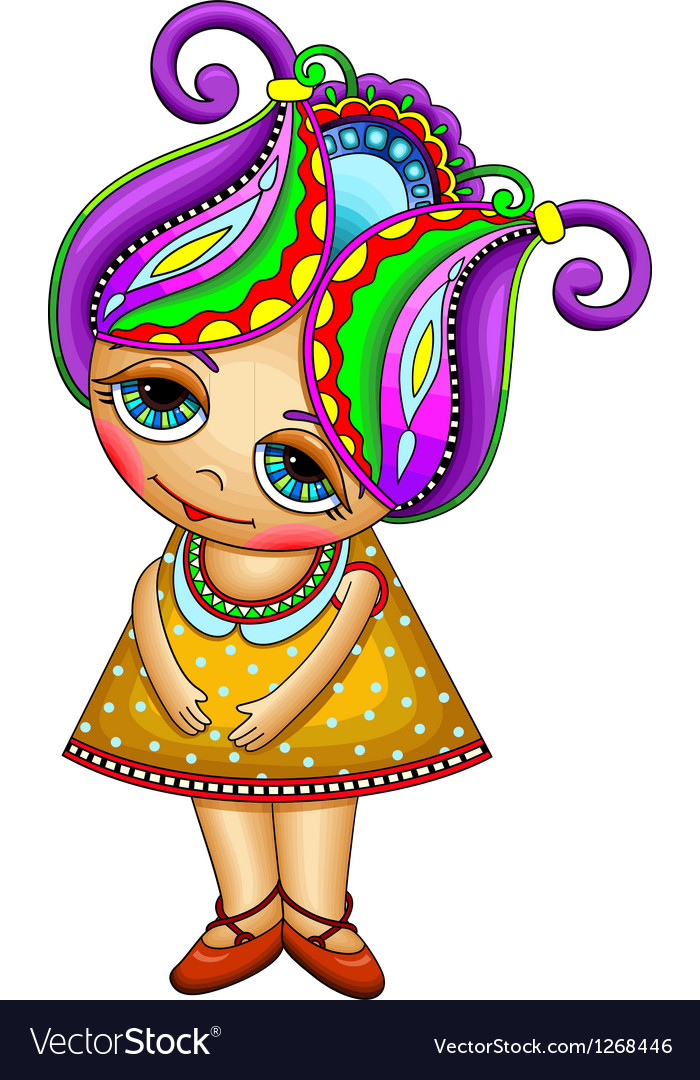 Ornate fantasy cartoon little girl vector | Price: 3 Credit (USD $3)