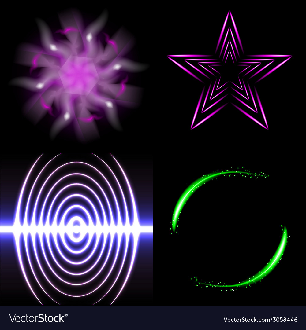 Set of beautifully glowing neon abstract vector   Price: 1 Credit (USD $1)