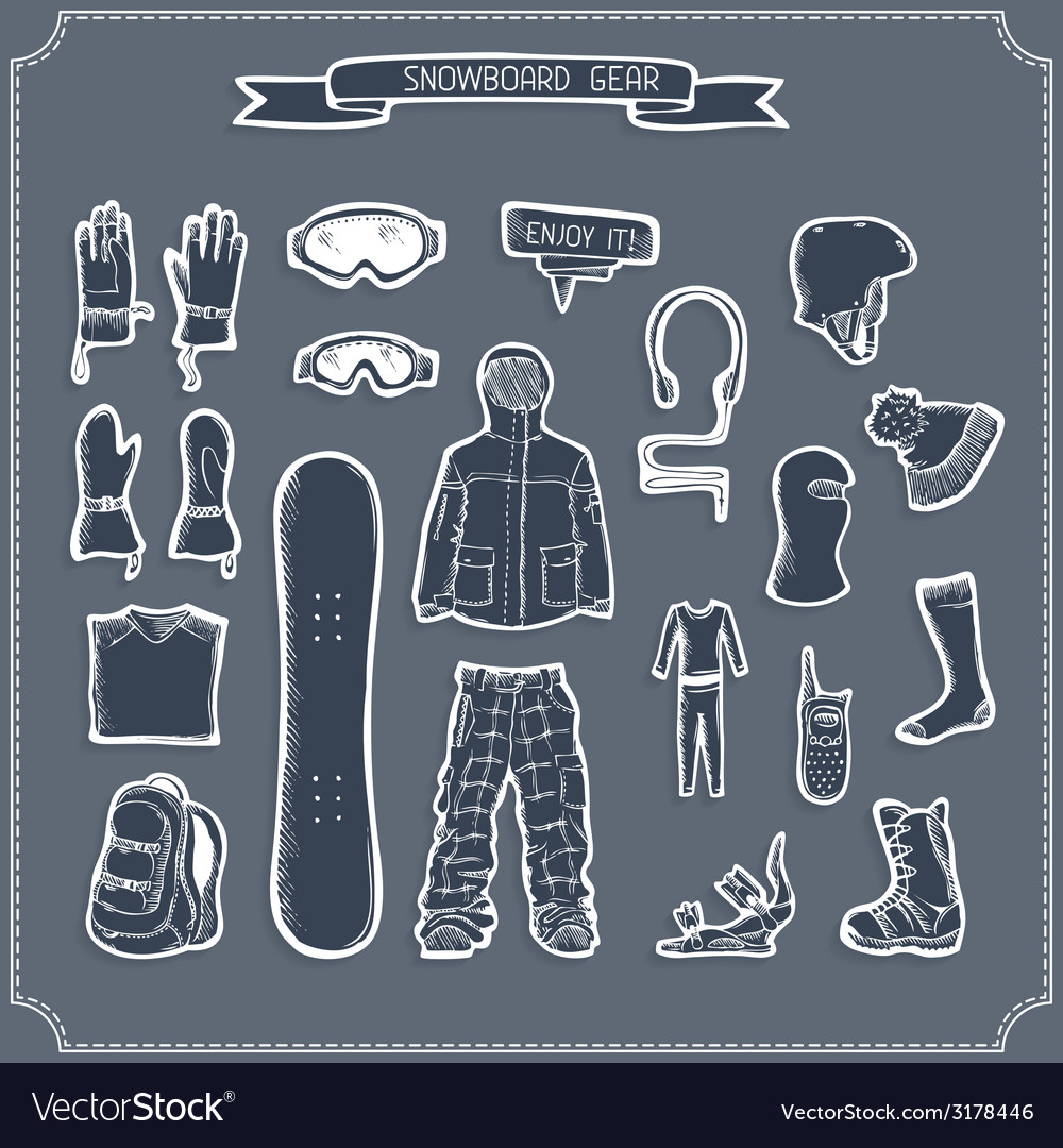 Set of snowboard clothing and kit silhouettes vector   Price: 1 Credit (USD $1)