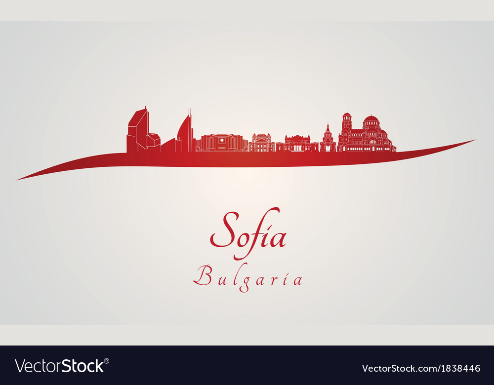 Sofia skyline in red vector | Price: 1 Credit (USD $1)