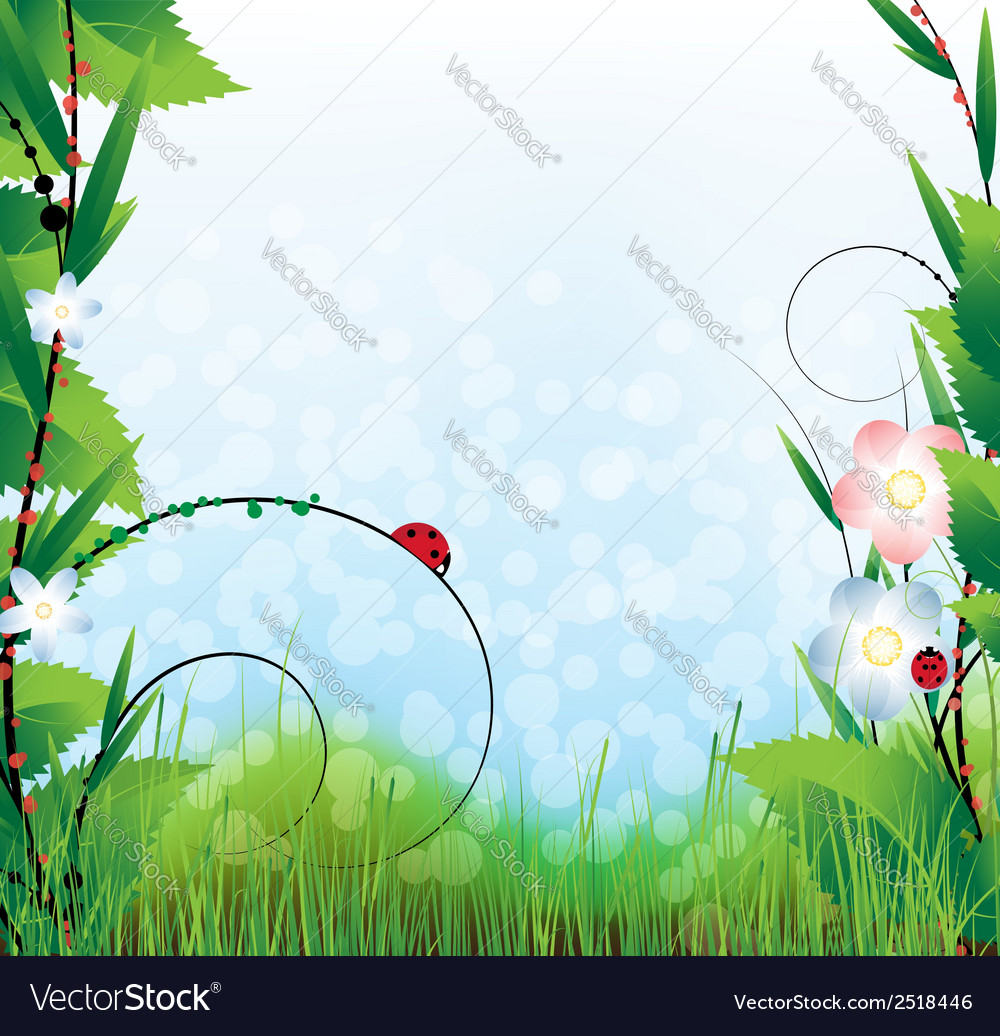 Sunny summer landscape vector | Price: 1 Credit (USD $1)