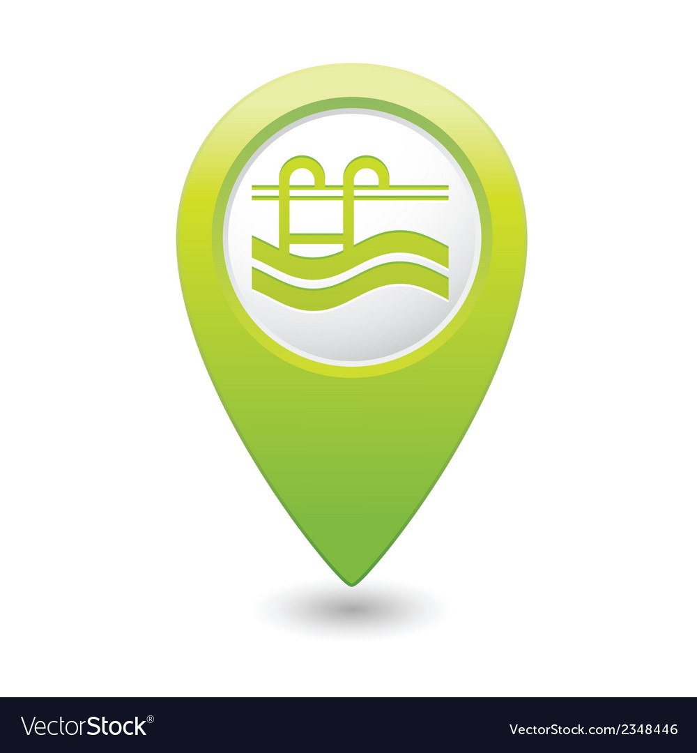 Swimmingpool icon green map pointer vector | Price: 1 Credit (USD $1)