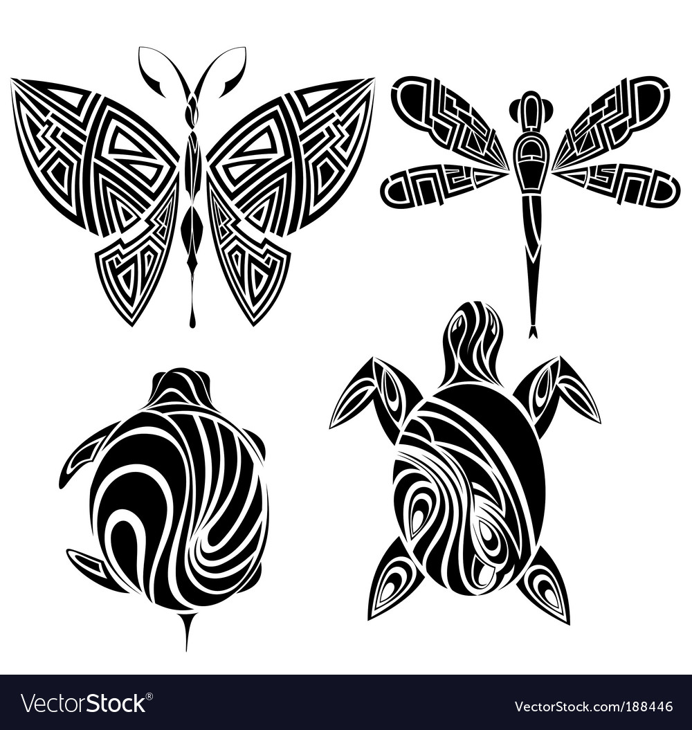 Tattoo design butterfly dragonfly vector | Price: 1 Credit (USD $1)