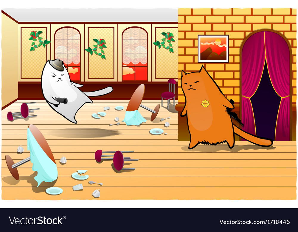 Two cats criminal and sheriff vector | Price: 1 Credit (USD $1)