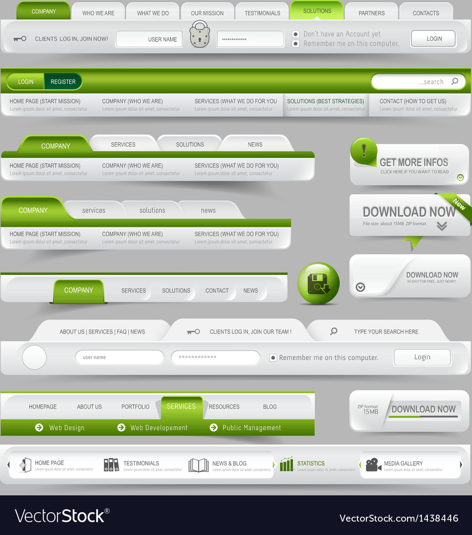 Web site design template navigation elements vector | Price: 1 Credit (USD $1)