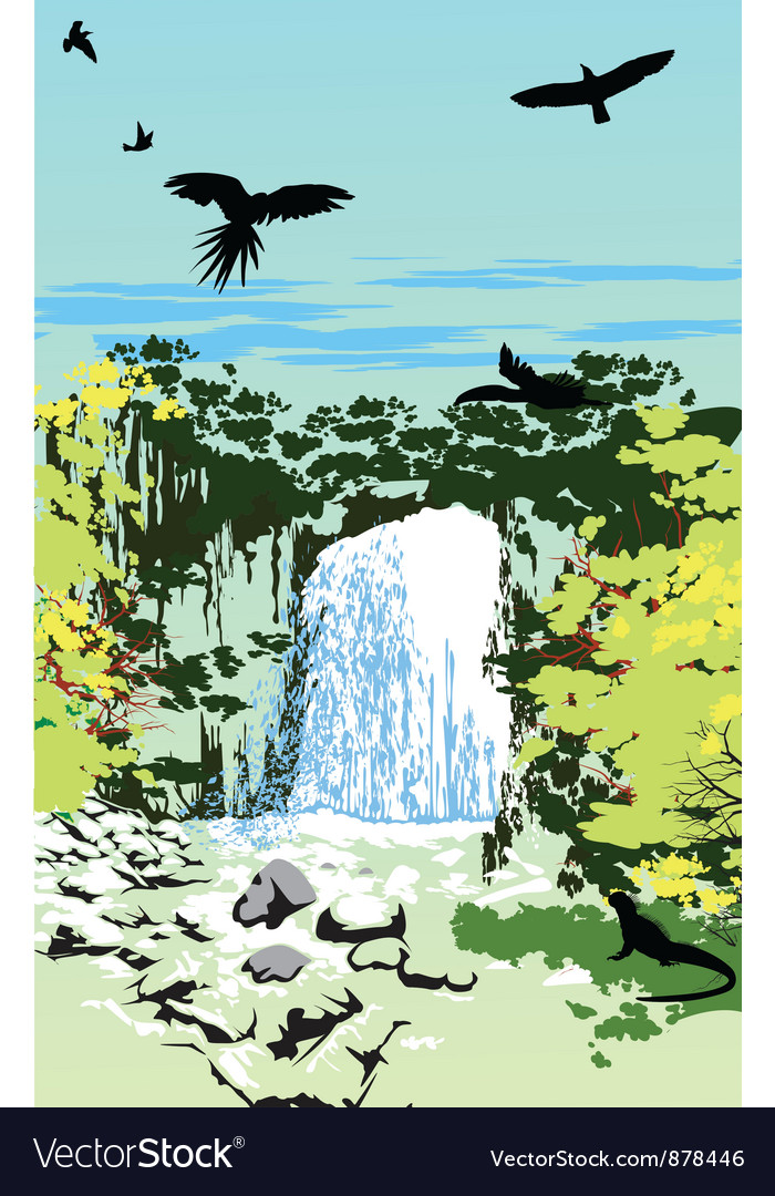 Wild jungle waterfall vector | Price: 1 Credit (USD $1)