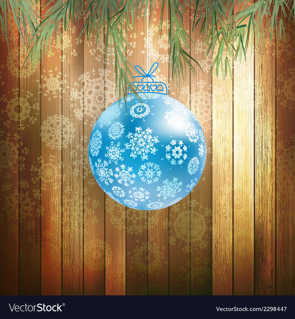 Christmas ball on a wooden background eps 10 vector | Price: 1 Credit (USD $1)
