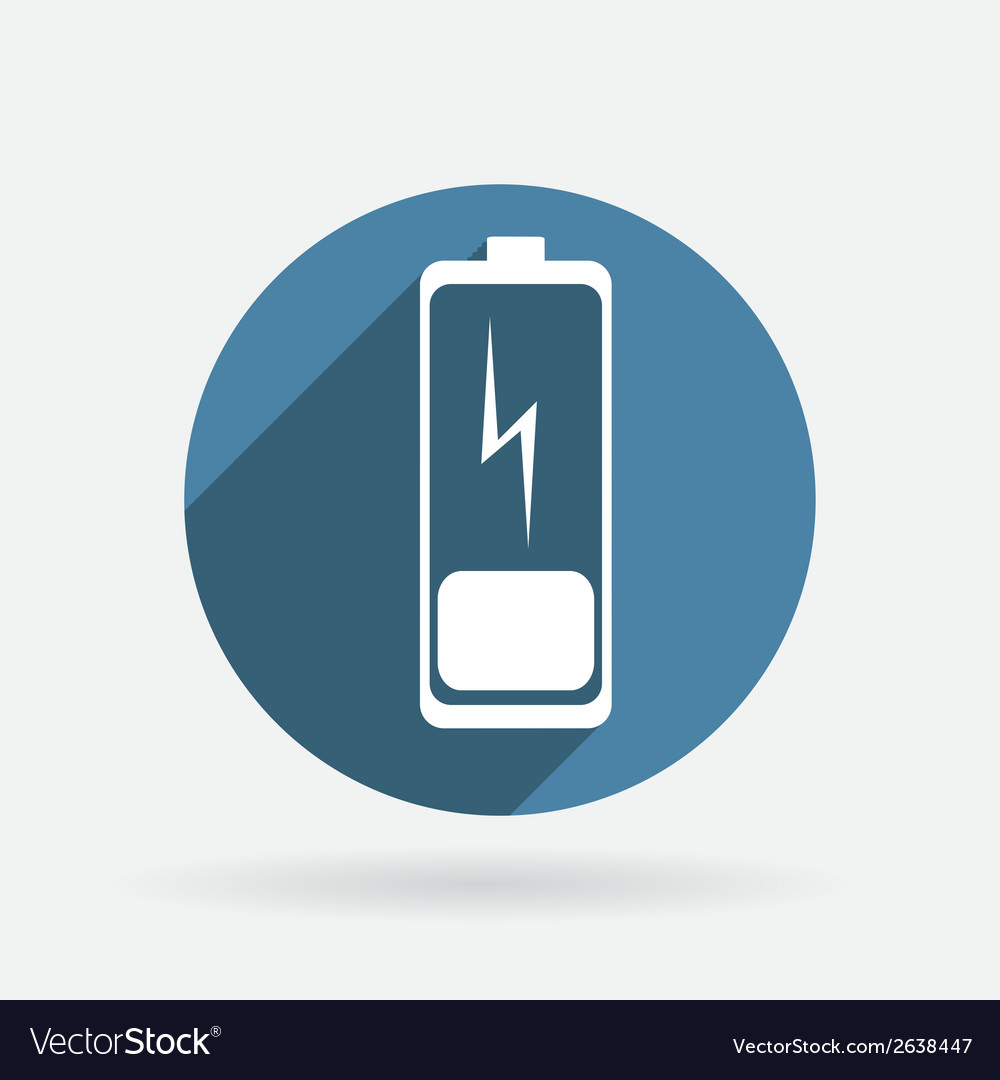 Discharged battery circle blue icon with shadow vector | Price: 1 Credit (USD $1)