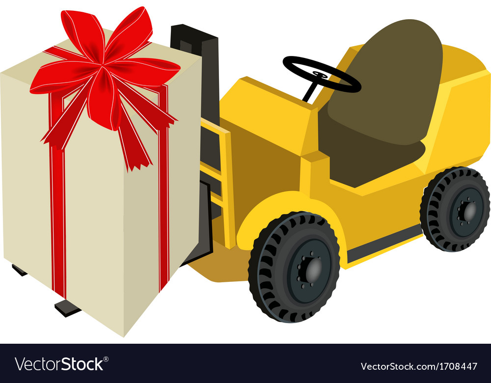 Forklift truck loading a beautiful gift boxes vector | Price: 1 Credit (USD $1)