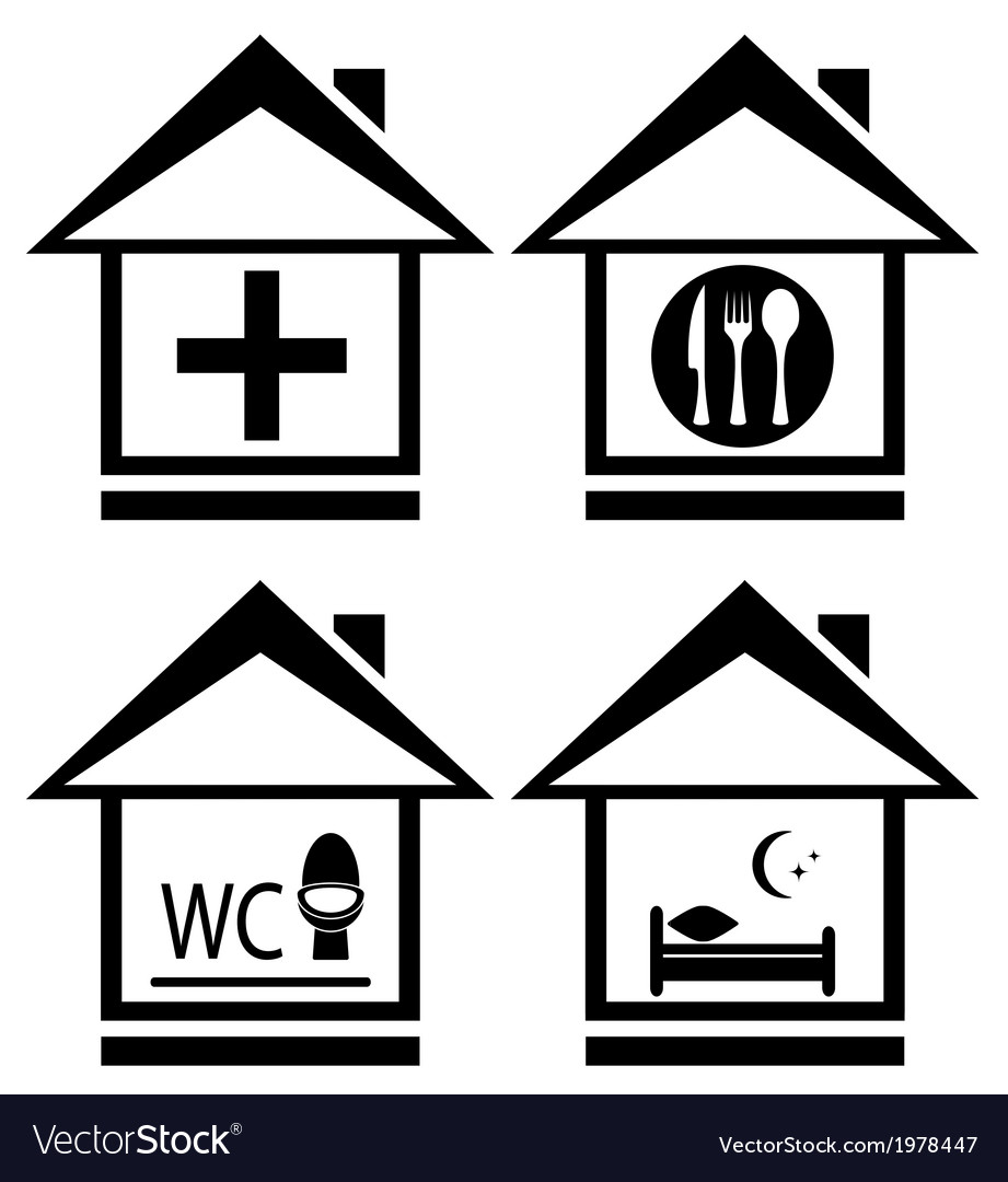 Icons with medical wc food and bed on home vector | Price: 1 Credit (USD $1)