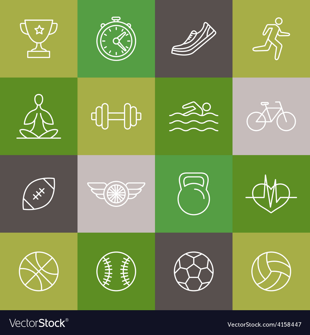 Linear sport and fitness icons and signs vector | Price: 1 Credit (USD $1)