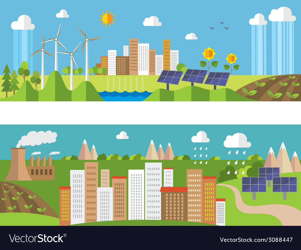 Set of environment and ecology banners vector | Price: 1 Credit (USD $1)