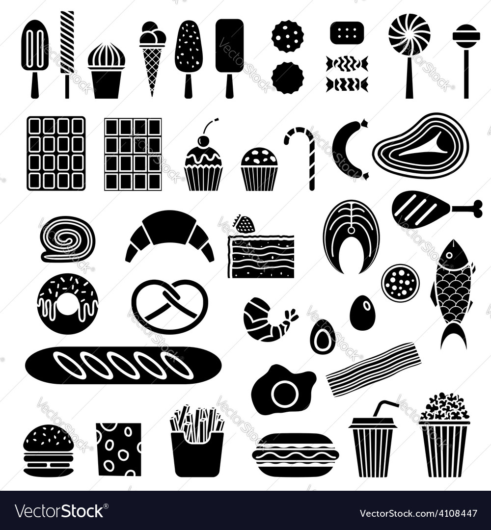 Silhouette of sweets and fast food vector | Price: 1 Credit (USD $1)