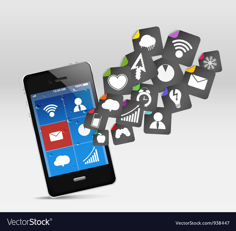 Smartphone app icons vector | Price: 1 Credit (USD $1)