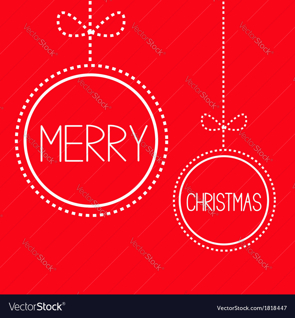 Two hanging red christmas balls with bow card vector | Price: 1 Credit (USD $1)