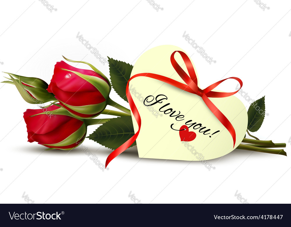 Two red roses with an i love you note vector | Price: 3 Credit (USD $3)
