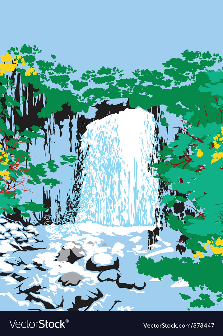 Wild jungle waterfalls vector | Price: 1 Credit (USD $1)