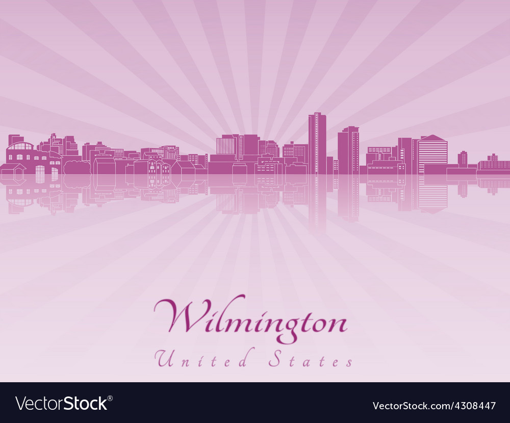 Wilmington skyline in purple radiant orchid vector | Price: 1 Credit (USD $1)