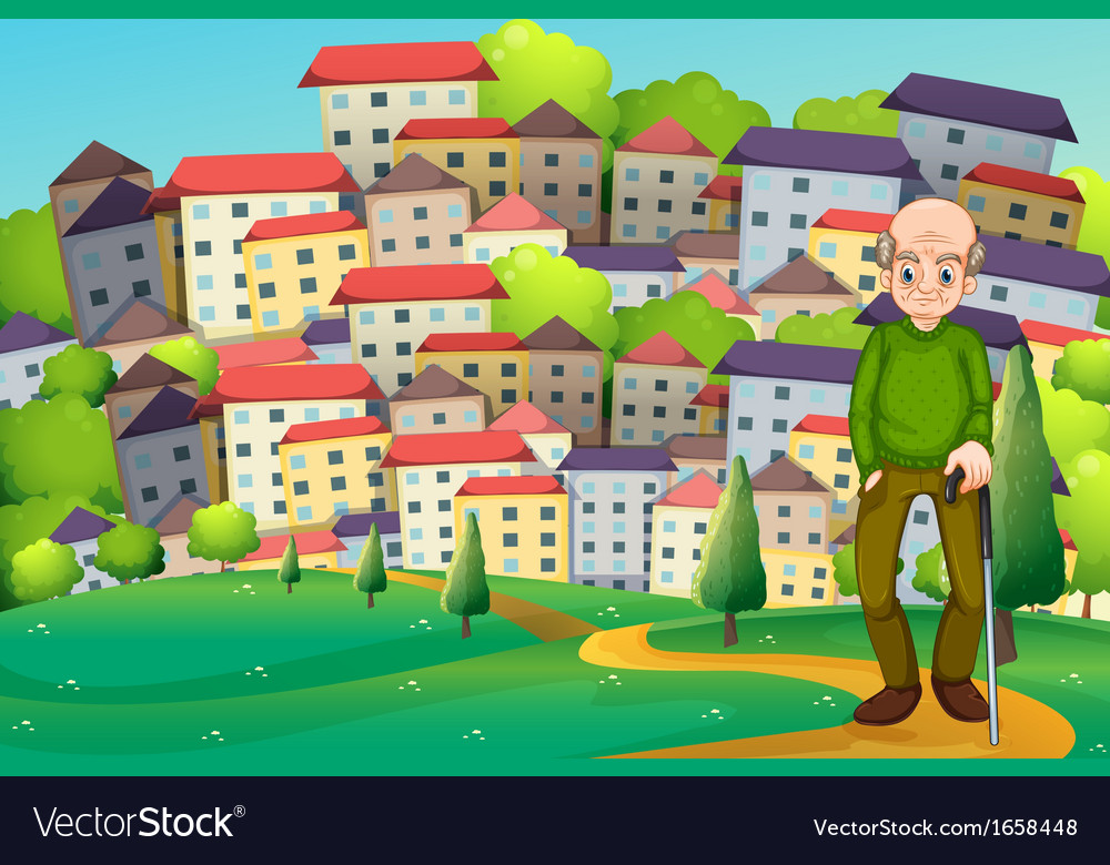 A grandfather at the hilltop across the village vector | Price: 3 Credit (USD $3)