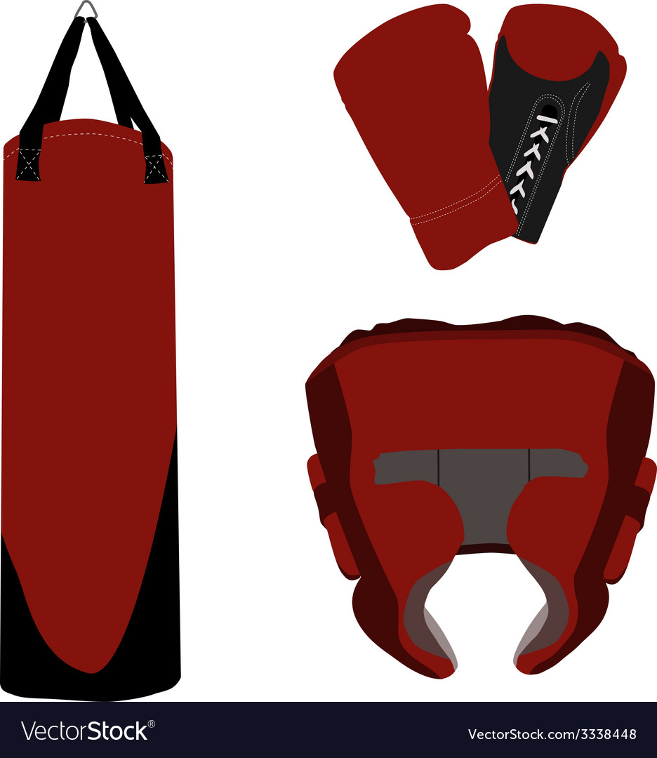Boxing gloves bag and helmet vector | Price: 1 Credit (USD $1)