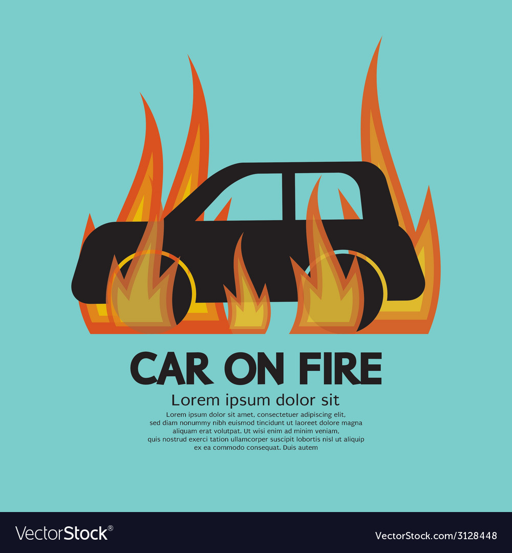 Car on fire vector | Price: 1 Credit (USD $1)