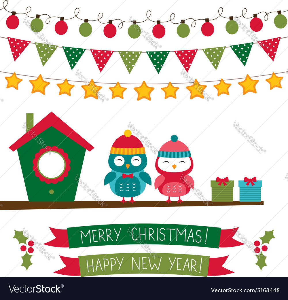 Christmas set with owls vector