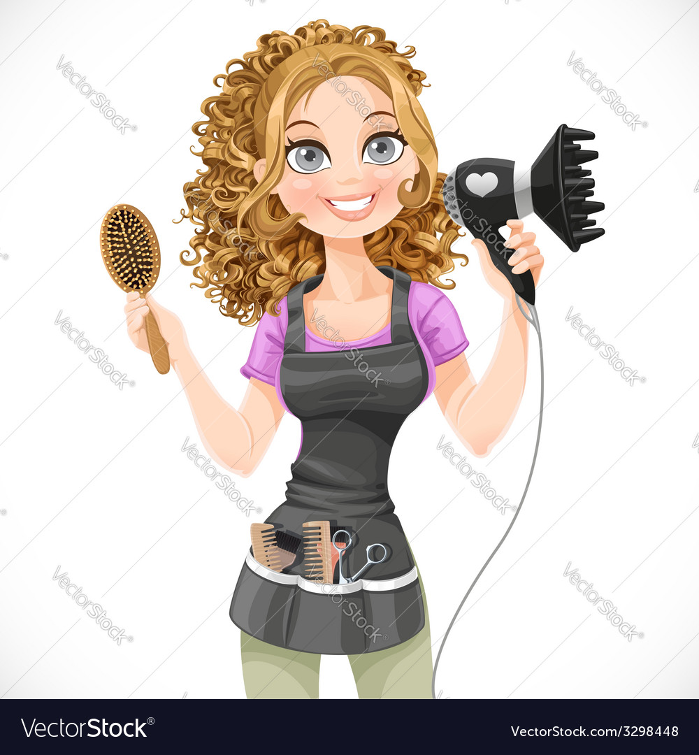 Cute girl hairdresser with hair dryer vector | Price: 3 Credit (USD $3)