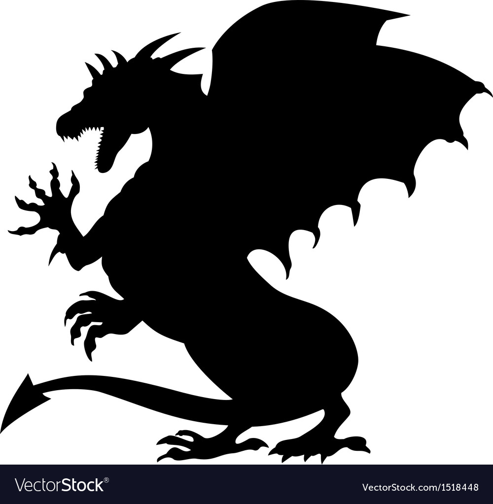 Dragon fighting silhouette vector | Price: 1 Credit (USD $1)