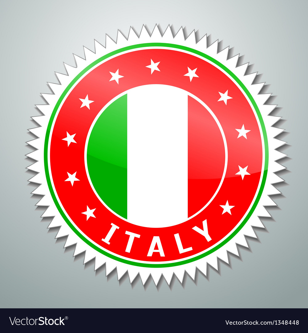 Italy flag label vector | Price: 1 Credit (USD $1)