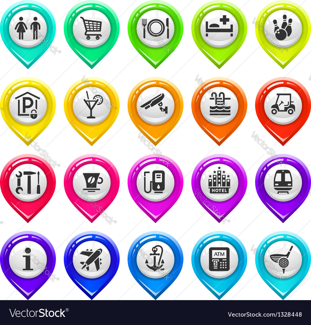 Map marker with icons-set one vector | Price: 1 Credit (USD $1)